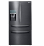 "RF22KREDBSG 36"" Samsung 22 Cu. Ft. Capacity Counter 4-Door French Door Refrigerator with Digital Touch Controls and FlexZone Drawer - Black Stainless Steel"