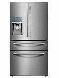 "RF22KREDBSR 36"" Samsung 22 Cu. Ft. Capacity Counter 4-Door French Door Refrigerator with Digital Touch Controls and FlexZone Drawer - Stainless Steel"