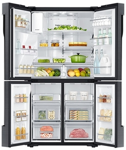 """RF23J9011SG Samsung 23 cu. ft. Capacity 36"""" Counter Depth 4-Door Flex French Door Refrigerator with Cool Select Plus - Black Stainless Steel"""