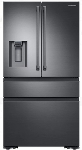 """RF23M8090SG Samsung 36"""" 22.7 cu. ft. Counter Depth French 4 Door Refrigerator with Twin Cooling Plus and FlexZone Drawer - Black Stainless Steel"""