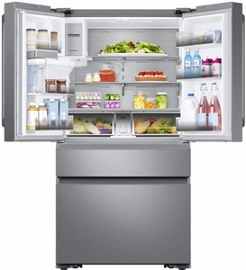 """RF23M8090SR Samsung 36"""" 22.7 cu. ft. Counter Depth French 4 Door Refrigerator with Twin Cooling Plus and FlexZone Drawer - Stainless Steel"""