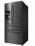 "RF25HMEDBSG 33"" Samsung 24.7 Cu. Ft. Capacity Counter 4-Door French Door Refrigerator with High Efficiency LED Lighting and FlexZone Drawer - Black Stainless Steel"