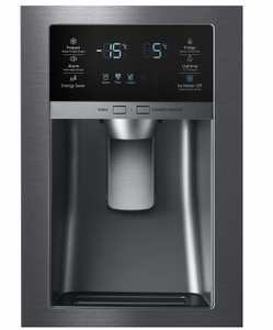 """RF25HMEDBSG 33"""" Samsung 24.7 Cu. Ft. Capacity Counter 4-Door French Door Refrigerator with High Efficiency LED Lighting and FlexZone Drawer - Black Stainless Steel"""