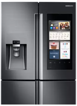 "RF28M9580SG Samsung 36"" 27.9 cu. ft.  French Door Refrigerator with Family Hub? and Built-In Cameras - Black Stainless Steel"