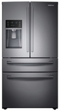 """RF28NHEDBSG Samsung 36"""" 28 Cu. Ft. 4-Door French Door Refrigerator with Family Hub and Twin Cooling Plus - Black Stainless Steel"""
