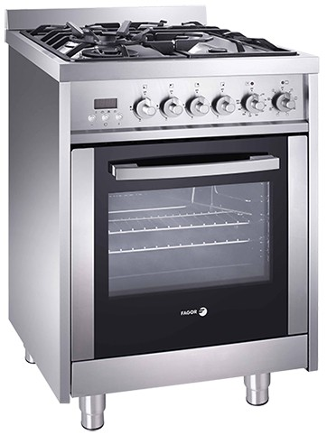 "RFA244DF Fagor 24"" Dual Fuel European Convection Range with Rotisserie - Stainless Steel"
