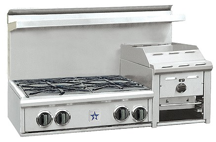 "RGTNB364GHCV2N BlueStar Heritage Collection 36"" Gas Rangetop - 4 Burners with Raised 12"" Griddle - Stainless Steel"