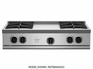 "RGTNB364FTV2 BlueStar 36"" Natural Gas 4 Burner Rangetop + 12"" French Top with Powerful 22,000 BTU Burners and Precise Simmer Burner - Stainless Steel"