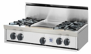 "RGTNB364GV2N BlueStar 36"" Natural Gas Rangetop - 4 Burners with 12"" Griddle - Stainless Steel"