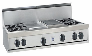 "RGTNB484FTBV2N BlueStar 48"" Natural Gas Rangetop - 4 Burners with 24"" French Top - Stainless Steel"