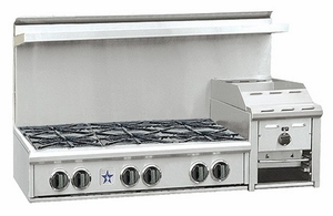 """RGTNB486GHCV2N BlueStar Heritage Collection 48"""" Gas Rangetop - 6 Burners with Raised 12"""" Griddle - Stainless Steel"""