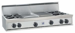 "RGTNB606GCBV2N BlueStar 60"" Natural Gas Rangetop - 6 Burners with 12"" Charbroiler and 12"" Griddle - Stainless Steel"