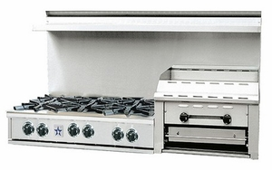 """RGTNB606GHCV2N BlueStar Heritage Collection 60"""" Gas Rangetop - 6 Burners with Raised 24"""" Griddle - Stainless Steel"""