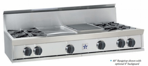 "RGTNB608CBV2N BlueStar 60"" Natural Gas Rangetop - 8 Burners with 12"" Charbroiler - Stainless Steel"