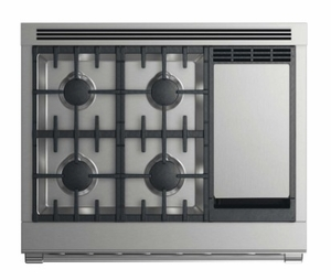 """RGV2364GDLN Fisher & Paykel 36"""" Liquid Propane Gas Range with 4 Burners and Griddle - Stainless Steel"""