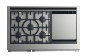 """RGV2485GDLN Fisher & Paykel 48"""" Liquid Propane Gas Range with 5 Burners and Griddle - Stainless Steel"""
