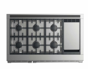 """RGV2486GDLN Fisher & Paykel 48"""" Liquid Propane Gas Range with 6 Burners and Griddle - Stainless Steel"""