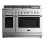 """RGV2486GDN DCS 48"""" Natural Gas Range with 6 Burners and Griddle - Stainless Steel"""