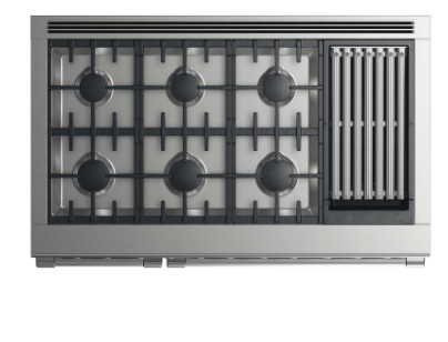 "RGV2486GLL DCS 48"" Liquid Propane Gas Range with 6 Burners and Grill - Stainless Steel"