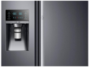 """RH22H9010SG Samsung 36"""" 21.5 cu. ft. Capacity Counter Depth Side-by-Side Refrigerator with LED Lighting and Multi Air Flow - Black Stainless Steel"""