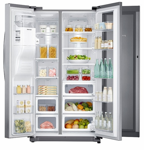 "RH25H5611SR Samsung 36""-Wide, 24.7 cu. ft. Capacity Side-by-Side Food ShowCase Refrigerator with Metal Cooling - Stainless Steel"