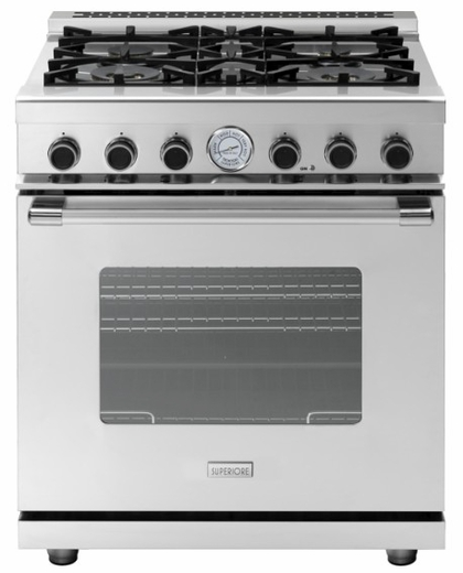 """RN301GCSSL Superiore 30"""" NEXT Gas Range with Classic Door and Extra Large Gas Oven - Liquid Propane - Stainless Steel"""