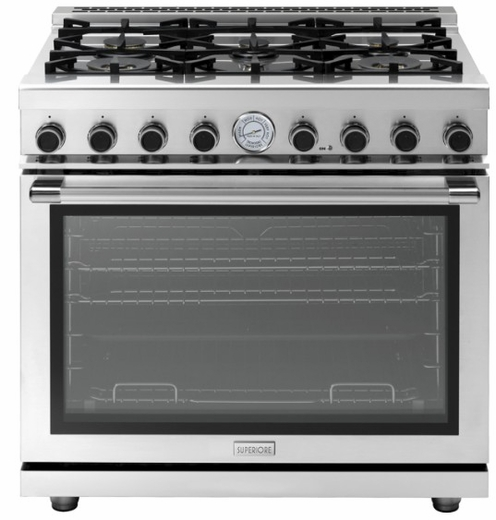 "RN361GPSSL Superiore 36"" NEXT Gas Range with Panorama Door and Extra Large Gas Oven- Liquid Propane - Stainless Steel"