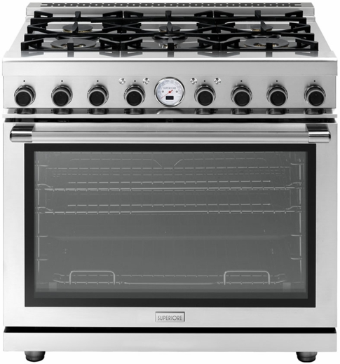 """RN361SPSS Superiore 36"""" 6.7 Cu. Ft. Self-Cleaning Superiore NEXT Panorama Series Duel Fuel Range with 6 Gas Burners and Panorama Door Design - Stainless Steel"""