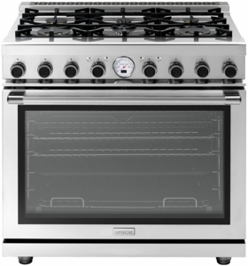 "RN361SPSS Superiore 36"" 6.7 Cu. Ft. Self-Cleaning Superiore NEXT Panorama Series Duel Fuel Range with 6 Gas Burners and Panorama Door Design - Stainless Steel"