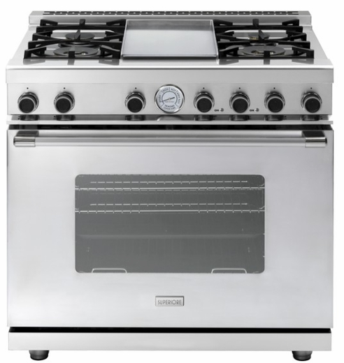 """RN362GCSS Superiore 36"""" NEXT Range with Classic Door, Griddle and Extra Large Gas Oven - Natural Gas - Stainless Steel"""
