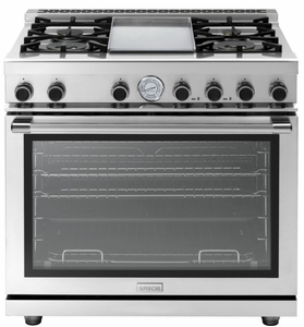 "RN362GPSS Superiore 36"" NEXT Range with Panorama Door, Griddle and Extra Large Gas Oven - Natural Gas - Stainless Steel"