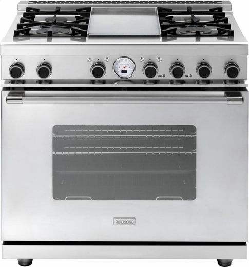 "RN362SCSS Superiore 36"" 6.7 Cu. Ft. Self-Cleaning Superiore NEXT Panorama Series Dual Fuel Range with 4 Gas Burners and Cool Flow System - Electric Oven - Stainless Steel"