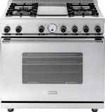 "RN362SCSS Superiore 36"" 6.7 Cu. Ft. Self-Cleaning Superiore NEXT Panorama Series Duel Fuel Range with 4 Gas Burners and Cool Flow System - Electric Oven - Stainless Steel"