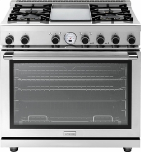 """RN362SPSS Superiore 36"""" 6.7 Cu. Ft. Self-Cleaning Superiore NEXT Panorama Series Duel Fuel Range with Analog Thermometer Panorama Door Design - Stainless Steel"""