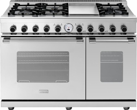 "RN482SCSS Superiore Panorama 48"" NEXT Duel Fuel Range with Griddle and 2 Electric Ovens and Self Clean - Gas - Stainless Steel"