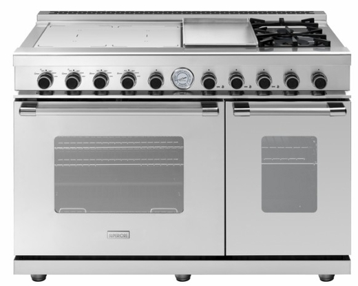 "RN483GCSS Superiore 48"" NEXT Range with Classic Door, Induction and Gas Burners, Electric Griddle and 2 Extra Large Gas Ovens - Stainless Steel"