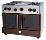 "RNB364FTPMV2-N BlueStar 36"" Precious Metals Series Gas Range with French Doors - 4 Burners with 12"" French Top - Natural Gas"
