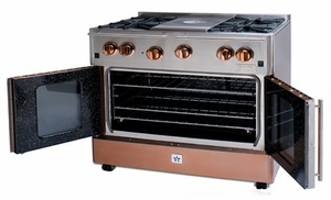 """RNB364FTPMV2-N BlueStar 36"""" Precious Metals Series Gas Range with French Doors - 4 Burners with 12"""" French Top - Natural Gas"""