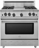"RNB364FTV2 BlueStar 36"" RNB Series Range With 4 Burners + 12"" French Top and Gentle Simmer Burner - Natural Gas - Stainless Steel"
