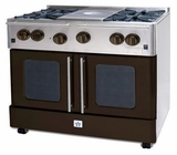 "RNB364GPMV2-N BlueStar 36"" Precious Metals Series Gas Range with French Doors - 4 Burners with 12"" Griddle - Natural Gas"