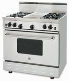 "RNB364GV2N BlueStar 36"" Freestanding Natural Gas Range - 4 Burners with 12"" Griddle - Stainless Steel"