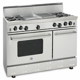 "RNB484GCBV2N BlueStar 48"" Freestanding Natural Gas Range - 4 Burners with 12"" Griddle and 12"" Charbroiler - Stainless Steel"