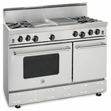 "RNB486CBV2N BlueStar 48"" Freestanding Natural Gas Range - 6 Burners with 12"" Charbroiler - Stainless Steel"
