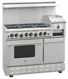 "RNB486GHCV2N BlueStar Heritage Series 48"" Freestanding Natural Gas Range - 6 Burners with Raised 12"" Griddle - Stainless Steel"