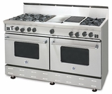 "RNB606GCBV2N BlueStar 60"" Freestanding Natural Gas Range - 6 Burners with 12"" Griddle and 12"" Charbroiler - Stainless Steel"