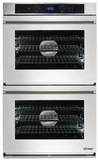 """RNWO227FS Dacor 27"""" Heritage Renaissance Collection Electric Double Wall Oven with GreenClean Steam Cleaning Technology and SoftShut Hinges - Flush Style Handles - Stainless Steel"""