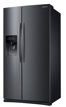 """RS25H5111SG Samsung 36"""" Wide, 25 cu. ft. Capacity Side-By-Side Refrigerator with LED Tower Lighting - Black Stainless Steel"""