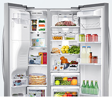 """RS25H5111SR Samsung 36"""" Wide, 25 cu. ft. Capacity Side-By-Side Refrigerator with LED Tower Lighting - Stainless Steel"""