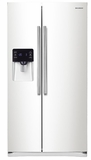 "RS25H5111WW Samsung 36"" Wide, 25 cu. ft. Capacity Side-By-Side Refrigerator with LED Tower Lighting - White"
