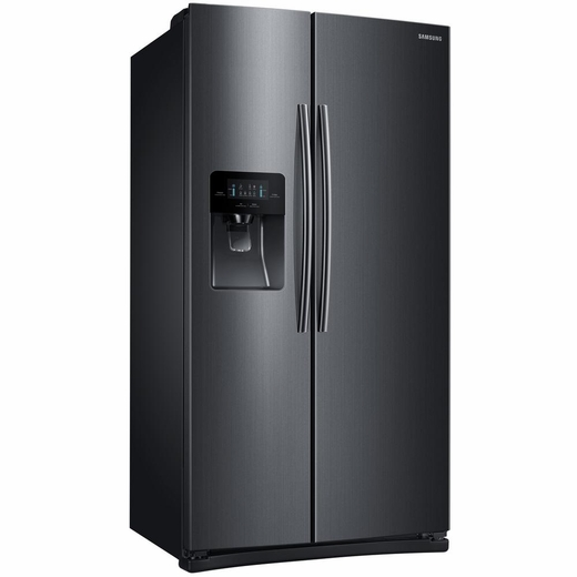 "RS25J500DSG Samsung 36"" 25 cu. ft. Capacity Side by Side Refrigerator with Digital LED Display and External Filtered Water/Ice Dispenser - Black Stainless Steel"